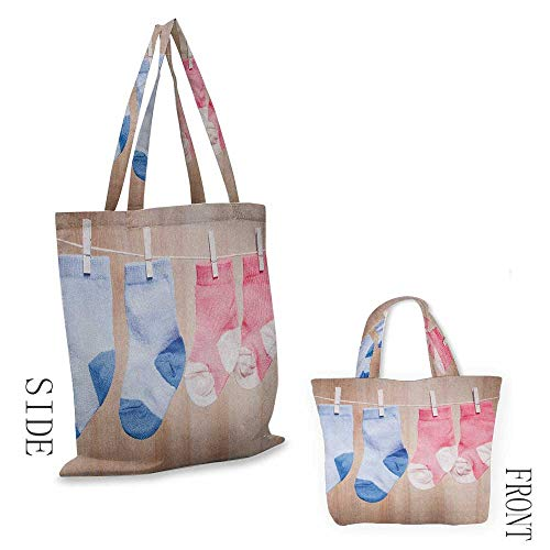 """The single shoulder bag Gender RevealBaby Socks Attached to Rope Cute Birthday New Birth in the Family Image Pink Coral Blue18""""W x 16""""H"""