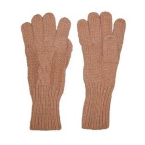 Fownes女性用ソフト& Sleekタンケーブルニット手袋