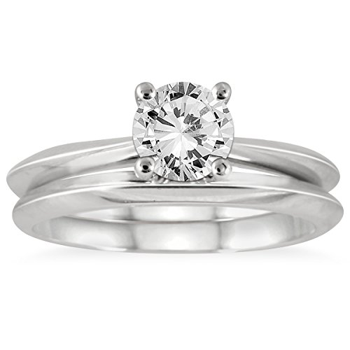 AGS Certified 1 Carat Knife Edge Diamond Bridal Solitaire Set in 14K White Gold (H-I Color, I1-I2 Clarity)