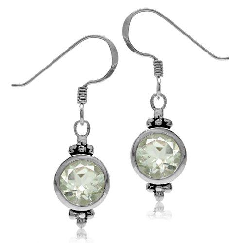 (2.48ct. 7MM Natural Round Shape Green Amethyst 925 Sterling Silver Flower Dangle Hook Earrings)