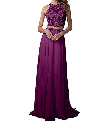 teilig A La Partykleider Marie Promkleider Abendkleider Chiffon Linie Traube Perlen Braut Zwei Langes Hell Rock gg4wqSH