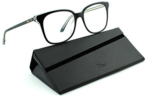 Christian Dior Cd Eyeglasses Frame (Dior Montaigne 26 Women Rectangular Eyeglasses (Black Crystal Frame (0TKX),)