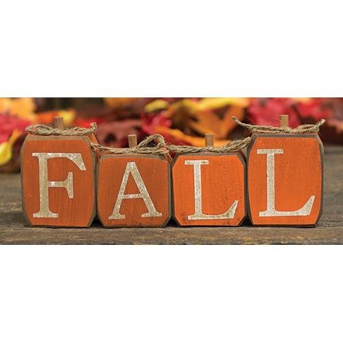 Hearthside Fall Wood Pumpkin Block - Set of 4 - Fall, Thanksgiving, Halloween Decor - Country Distressed Rustic Prim ()