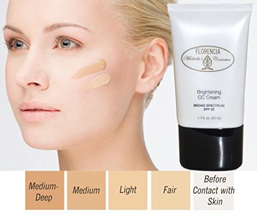 CC Cream Brightening Color Correcting Face Cream with Broad Spectrum SPF20 Florencia MiCo Michelle's Cosmetics Light 1.1 Ounce
