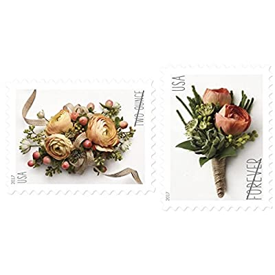 USPS Forever Stamp: Celebration Corsage and Boutonniere Combination Package (1 Sheet of Each) : Office Products
