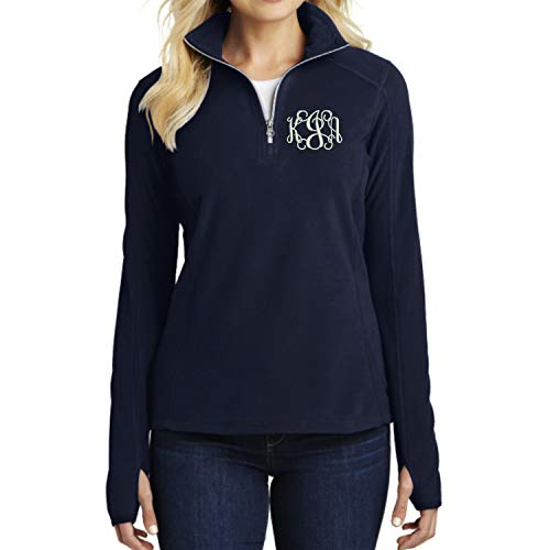 Lane Weston Monogrammed Women's Microfleece Half Zip Pullover Sweatshirt (Small, True Navy)