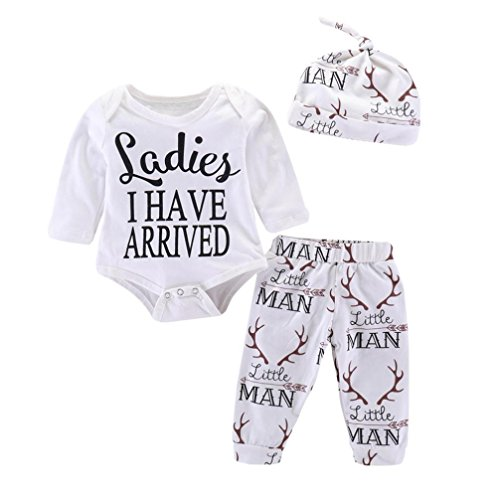 Baby Boys Girls Letter Deer Print Rompers Jumpsuit + Pants + Hat Outfits Set (Soft Teddy Bear Terry)