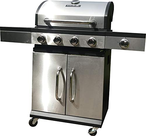 ACCE 4+1 Gas Grill, Stainless Steel BBQ Gas Grill with one Box Grill mat (40X33X0.3cm 5er) Free