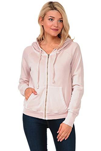 (YURO-K Women's Premium Pigment Dyed Cotton Zip Up Hoodies (Dust, Medium))