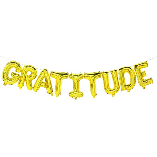 Gratitude Balloon Banner | Gold Thanksgiving Mylar Balloons