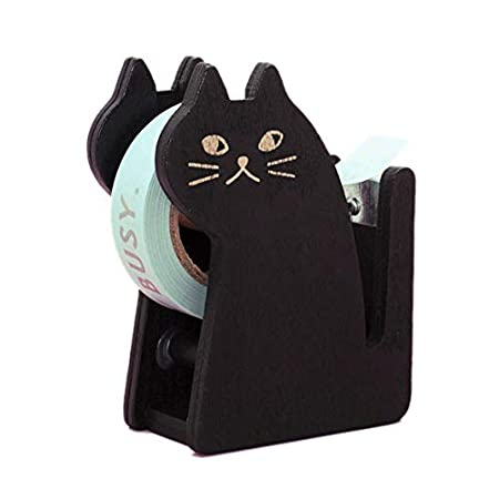 Xrten Vintage Katze Tischabroller Halter aus Holz,Tape Spender Klebeband Halter