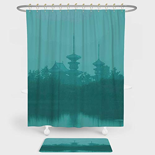 iPrint Asian Shower Curtain And Floor Mat Combination Set Various Temples above the Sea Holy Tank in Fog Symbolic Faith Custom Pagoda Monochrome Decorative For decoration and daily use Turquoise by iPrint