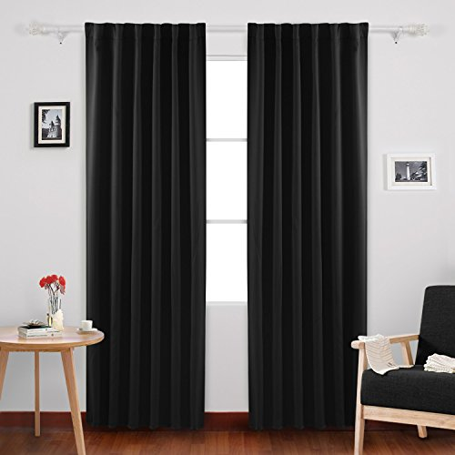 Deconovo Back Tab and Rod Pocket Blackout Curtains Solid Blackout Panels Thermal Insulated Drapes and Curtains 52x84 Inch Black 2 Panels