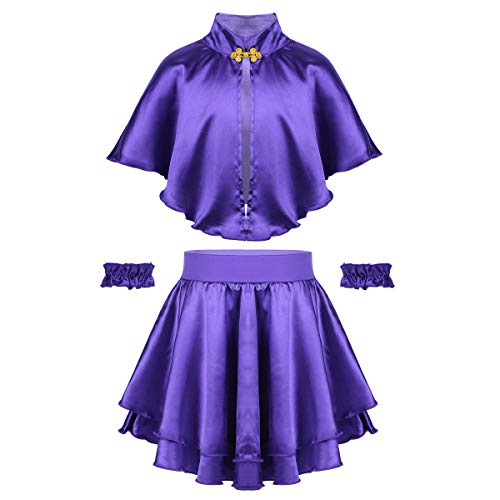 dPois Kids Girls' Greatest Showman Anne Wheeler Costume Cape Top with Skirt and Wristband for Halloween Cosplay Party Purple 6-8 ()