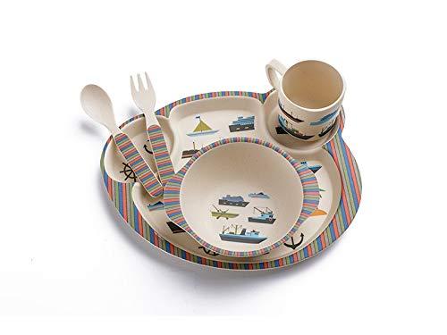 For Dishes Boats (Wetietir Children Tableware Bamboo Fiber Boat Pattern Dish Children Plate Fork Spoon Cup Set Kids Cartoon Dinnerware)