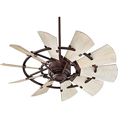 """Quorum 94410-86 Windmill 44"""" Ceiling Fan with Wall Control, Oiled Bronze"""