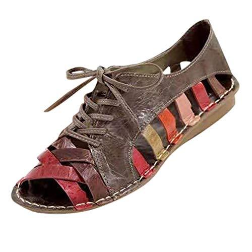 Meigeanfang Vintage Women Hollow Out Neutral Flat Summer Sandals Casual Peep Toe Lace Up Shoe(Multicolor,42)
