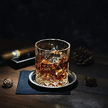 HAOKTSB Gafas de Whisky de Cristal, 11 oz Vidrio de Bourbon Unique, Ultra claridad Vagas de Doble Moda, para Beber Bourbon, Cognac, Conjunto de 6 Decantador de Whisky
