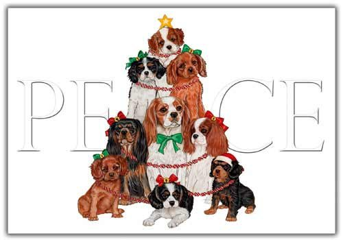 Cavalier King Charles Christmas Cards Peace : 10 Holiday Cards with Envelopes