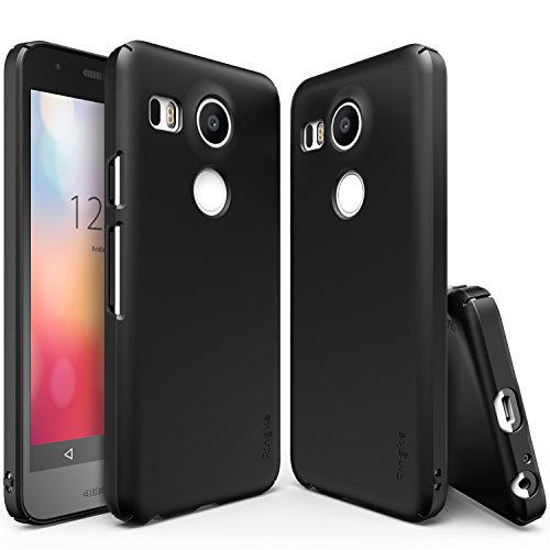 Nexus 5X Case, Ringke [Slim] Extreme Lightweight & Thin Cover w/ Screen Protector [Snug-Fit] Side to Side Edge Coverage Scratch Resistant Superior Coating PC Hard Skin for Google Nexus 5X - SF Black