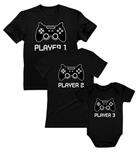 Gamer Shirts for Dad, Mom & Baby Player 1,2,3 Father Mother Shirts Baby Bodysuit Dad Black L/Mom Black S/Baby Black NB (0-3M)