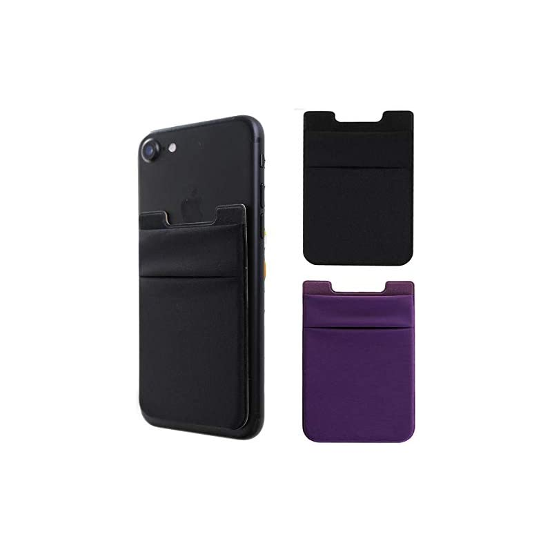 2Pack Adhesive Phone Pocket,Cell Phone Stick On Card Wallet,Credit Cards/ID Card Holder(Double Secure) with 3M Sticker for Back of iPhone,Android and All Smartphones-Black&Purple