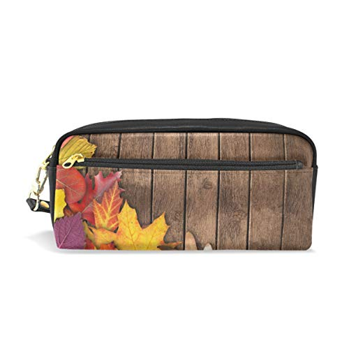 Pencil Bag Pouch Autumn Maple Leaf Wood Pen Case Pencil Holder with Compartments for School Student Leather Cosmetic Bag