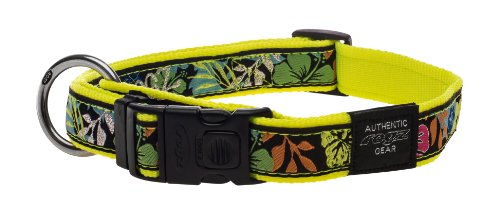 "Rogz Fancy Dress Extra Large 1"" Armed Response Side-Release Fashion Dog Collar, Dayglo Floral Design"