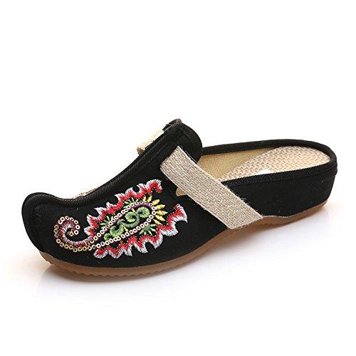 Oxford JTBLACK Vetado Zapatos NGRDX Retro Hogar Señoras Open Señoras Zapatillas amp;G Diapositivas Planas Zapatos Bordados Zapatillas Zapatillas Sandalias Zapatillas 0wqgwxPUB