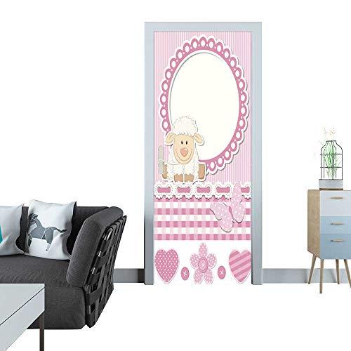 (Anmaseven Door Sticker Happy Baby Sheep Pink Scrapbook Set Sticker for Door 30x79(77x200 cm))
