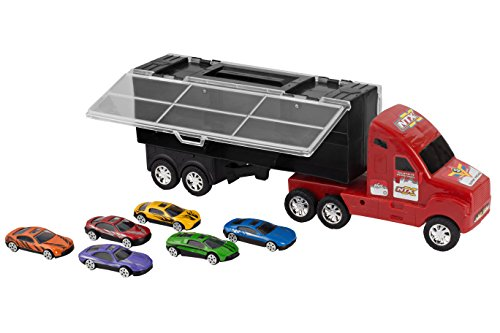 14-Red-Car-Carrier-Transport-Truck-and-6-Stylish-Metal-Racing-Cars-with-Carry-On-Handle-and-Car-Storage-Compartments-by-Big-Mos-Toys