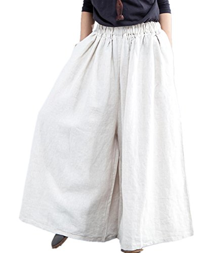 YESNO PU8 Women Casual Loose Wide Leg Pants 100% Linen Low Crotch Elastic Waist (2XL, P56Typ2 Hemp)