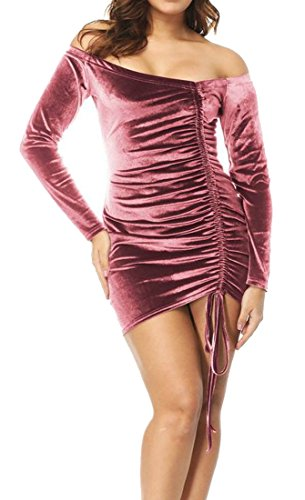 Bodycon Bandage Cromoncent Dress Mini Sleeve XS Sexy Velvet Club Womens Long Pink w6YA6Xr