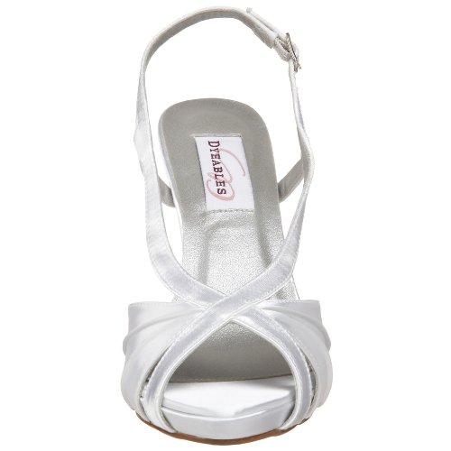 Dyeables Womens Aliyah Slingback Platform Sandaal Wit Satijn