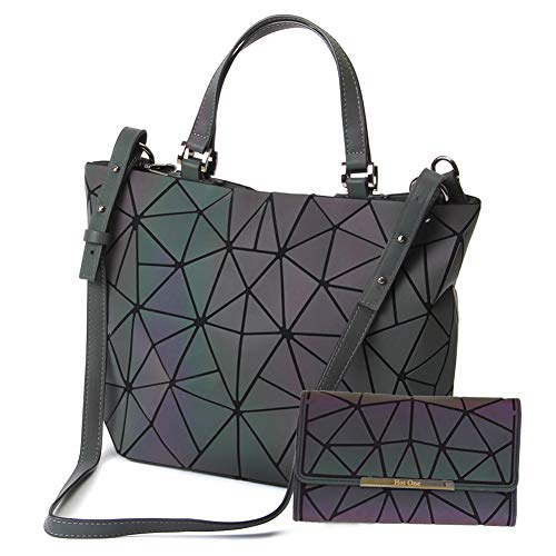 Lattice Back Dress - HotOne Geometric Purse Holographic Purse and Handbag Color Changes Luminous Purse and Wallet Set for Women