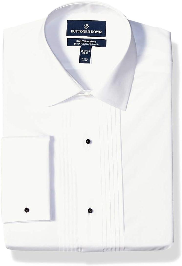 Amazon Brand - Buttoned Down Men's Slim Fit Bib-Front Tuxedo Shirt, Supima Cotton Easy Care, Spread-Collar