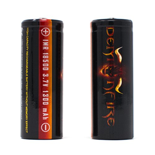 1400mah Rechargeable Li Ion Battery - IMR 18500 1300mAh 3.7V High Drain LiMn Demonfire Rechargeable Battery with Button Top (2 Pieces)