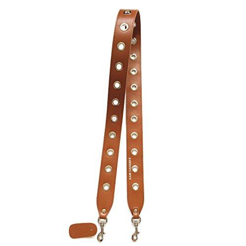 Eyelet Shoulder Strap (Lam Gallery Vintage Wide Purse Straps Replacement with Eyelet Rivet Split Leather Shoulder Bags Strap Guitar Style Handbag Straps 4CM x 110CM - Brown Silver)