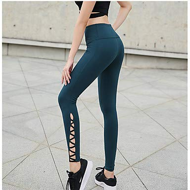 Frauen High Rise Ausschneiden Yogahosen Solid Farbe Zumba Running Fitness Tights Leggings Activewear Butt Lift Tummy Control Stretchy Skinny, Dark Green,L