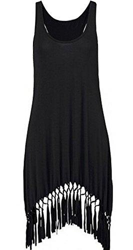 Faithtur Women Sexy A-line Scoop Neck Mini Tank Dress with Fringed Hem (Label L, Black)