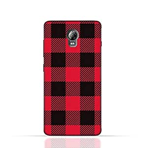 Lenovo Vibe P1 TPU Silicone Case with Red and Black Plaid Fabric Design