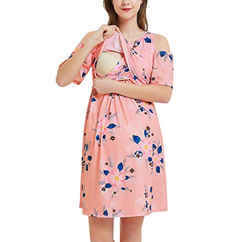 - Maternity Dresses for Womens,Summer Off Shoulder Breastfeeding Delivery Nursing Nightgown Pregnancy Dress S-XXL (S, Pink)