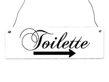 INTERLUXE Cartel de Madera Shabby Toilette [pie Derecho ...