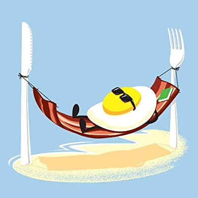 """Good Morning"" Funny Egg Sunny SIde Up Relaxing in Bacon Hammock - Vinyl Sticker: Arts, Crafts & Sewing"