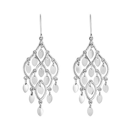 10K White Gold Shiny Chandelier Drop Earrings with Euro Wire by IcedTime