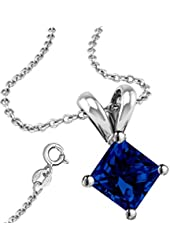 Synthetic Sapphire Cubic Zirconia Necklace Pendant with 18 Inch Rolo Chain in 925 Sterling Silver