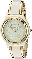 Anne Klein Women's AK/2344IVGB Swarovski Crystal Accented Gold-Tone and Ivory Bangle Watch