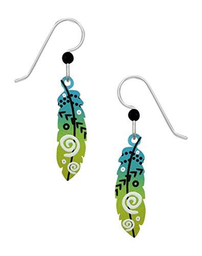 Sienna Sky Blue & Yellow Green Feather Earrrings 2004