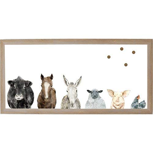 Petal Lane Framed Magnetic Canvas Wall Art - Farm House Farm Animals Home Decor, 4 Magnets Included (38
