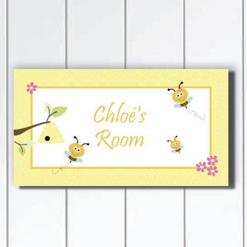 Cute Little Bumble Bee Door Sign Plaque Bedroom Wall Art, Yellow Bumblebee Personalized Door Sign Plaque, Personalized Bee Nursery Baby Girls Wall Decor by Kid O
